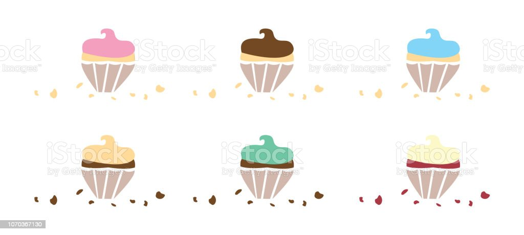 Flavoured Cupcakes with Crumbs vector art illustration