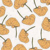 Illustration of yellow peppers randomly arranged on a plain background