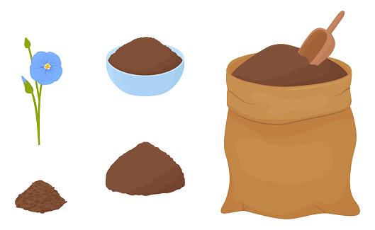 Flax flour heap in blue bowl and brown fabric bag
