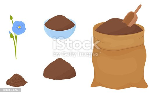 istock Flax flour heap in blue bowl and brown fabric bag 1300696570
