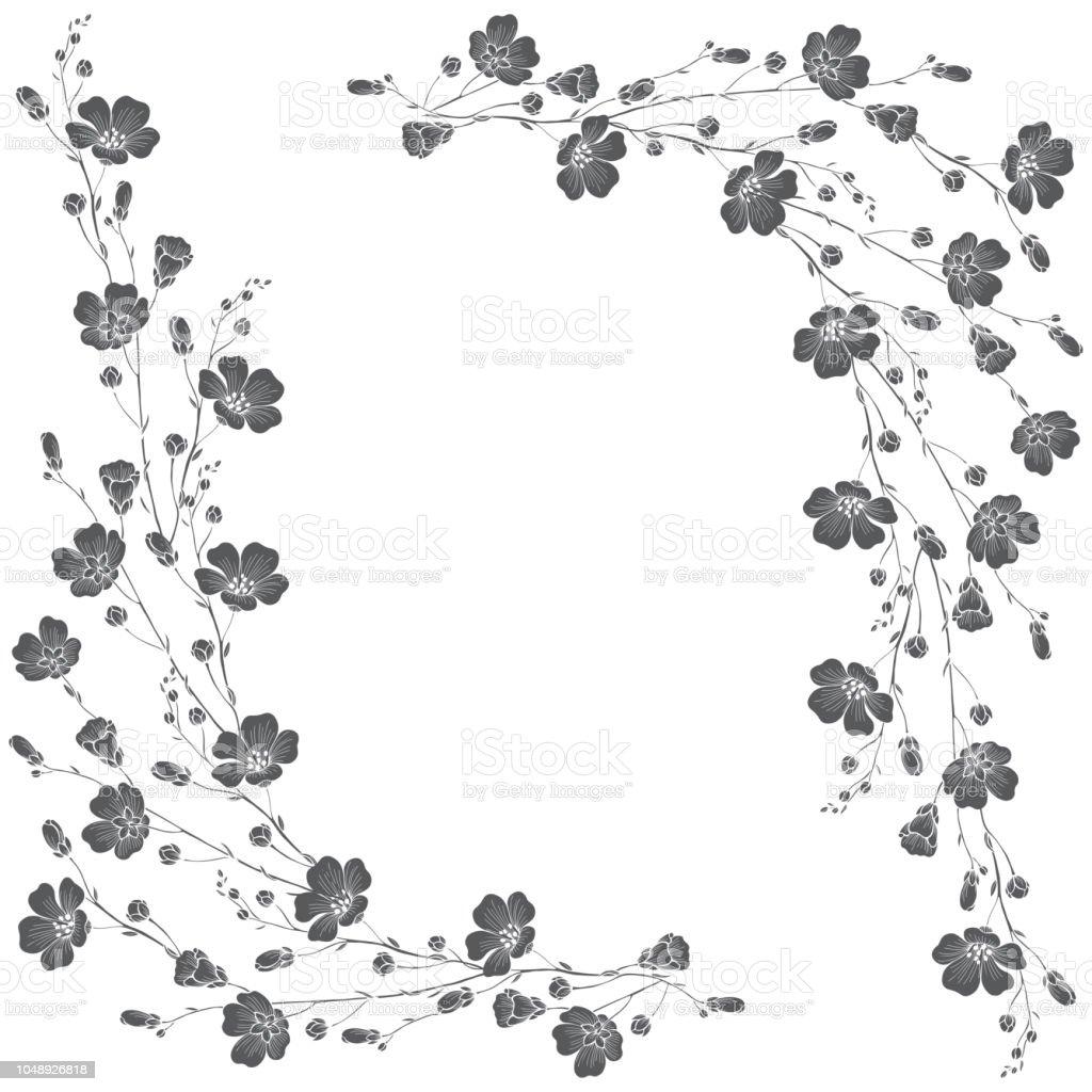 Lin blommor på vit bakgrund med plats för text. Blommig monokrom ram. Gratulationskort, inbjudan eller isolerade element för design. vektorkonstillustration