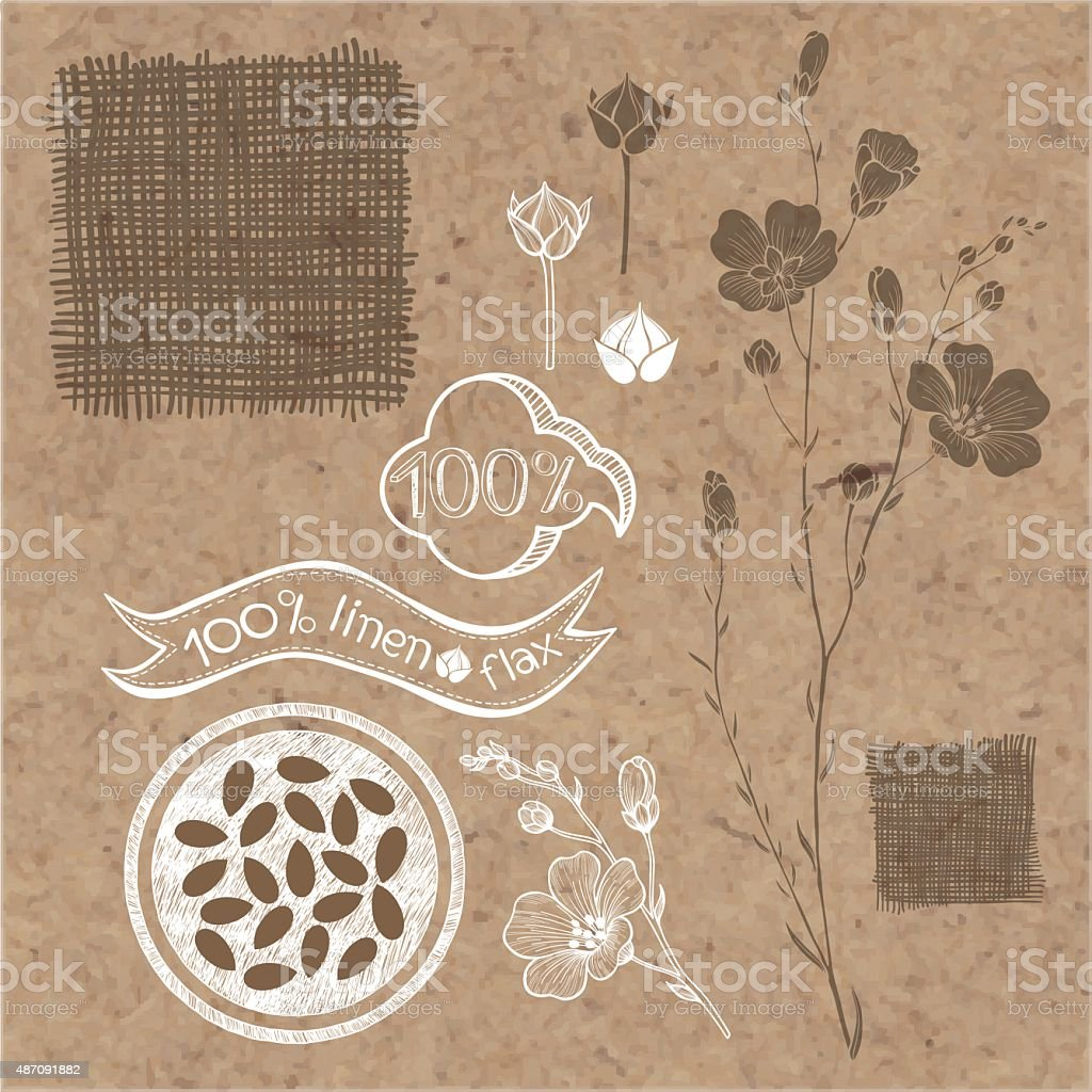 Flax labels, stickers and elements isolated on kraft paper background. vector art illustration