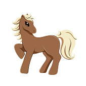 flaxen chestnut horse in cartoon style