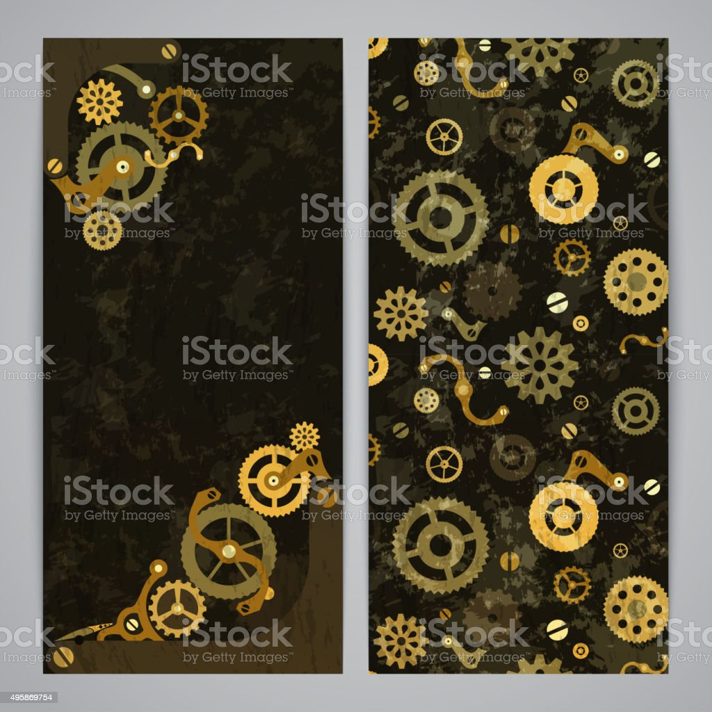 Flayer templates with steampunk decor vector art illustration