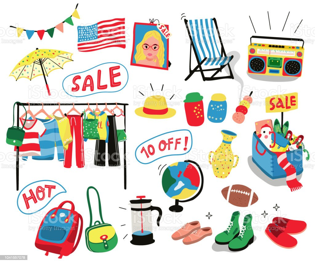 elementos do mercado das pulgas - ilustração de arte em vetor