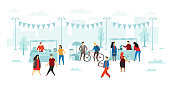 Flea market. People buy and sold, fleas shop sale and street shopping. Jewelry selling stall, second hand flea store marketing sell or furniture seller flat vector illustration