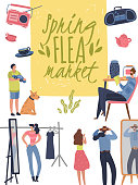 Flea market poster. Fashionable shopping second hand stylish goods clothes swap meet bazaar. Fleas market background
