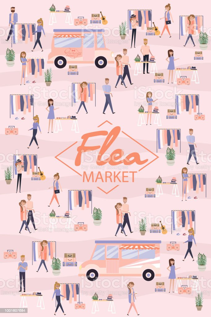 Mercado de pulgas de cartaz - ilustração de arte em vetor