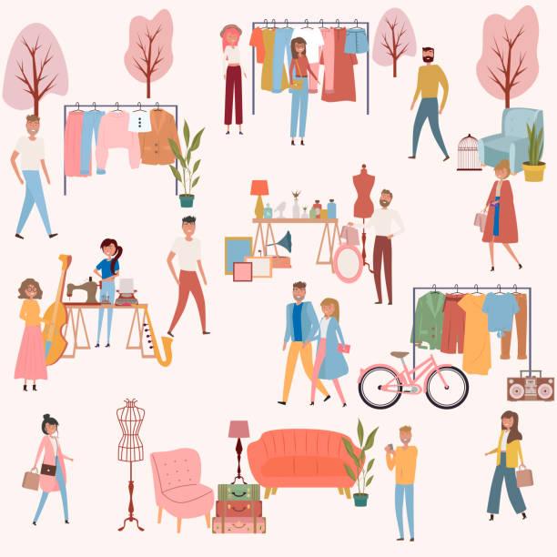 illustrazioni stock, clip art, cartoni animati e icone di tendenza di flea market poster with people selling and shopping at walking street - city walking background