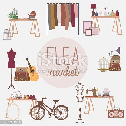 Flea market set with vintage clothes and accessories shop, cartoon flat design. Editable vector illustration