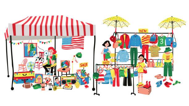 stockillustraties, clipart, cartoons en iconen met rommelmarkt - bazaar