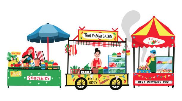 illustrazioni stock, clip art, cartoni animati e icone di tendenza di flea market - banchi di pesci