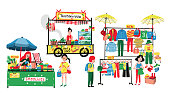 People selling and shopping at flea market or marketplace: clothes shop, thai papaya salad vendor and smoothies stall, all in colorful doodle cartoon flat design, illustration, vector on white background