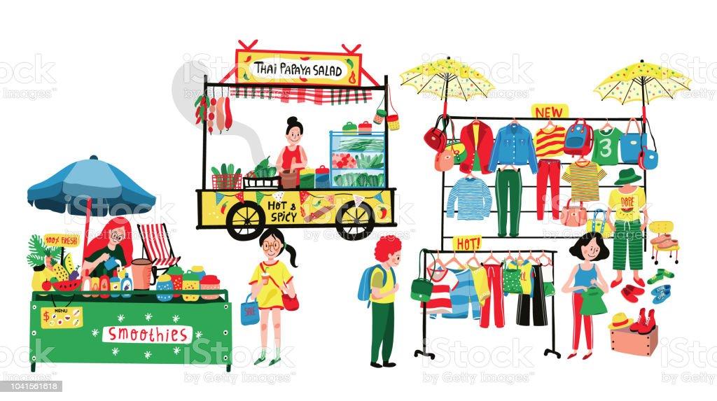 Mercado das pulgas - ilustração de arte em vetor