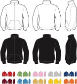Vector template of classic fleece jacket. Front, rear and side views. Easy color change.