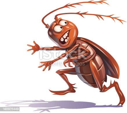 Illustration of a fleeing, scared bug isolated on white. EPS 8.