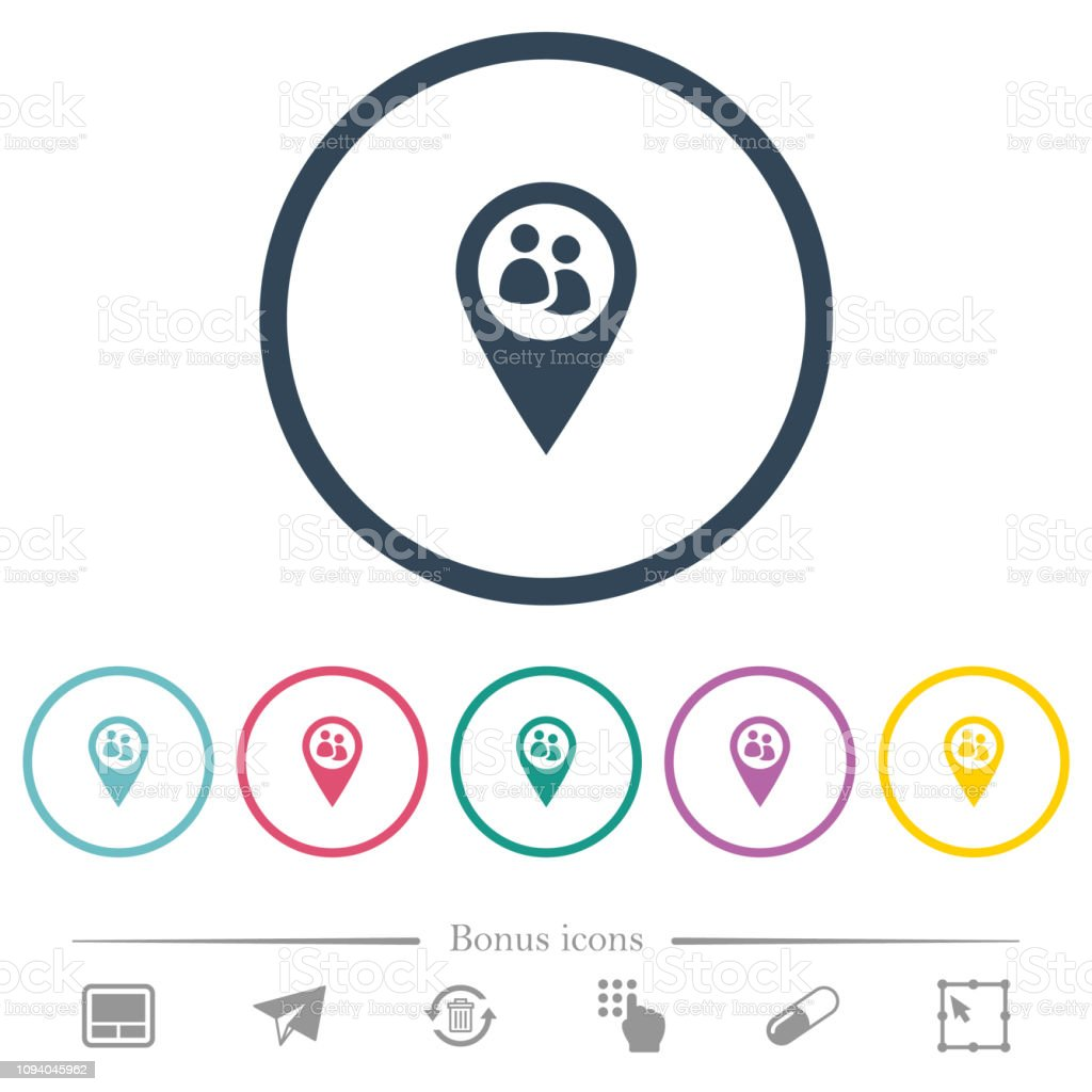 Fleet tracking flat color icons in round outlines
