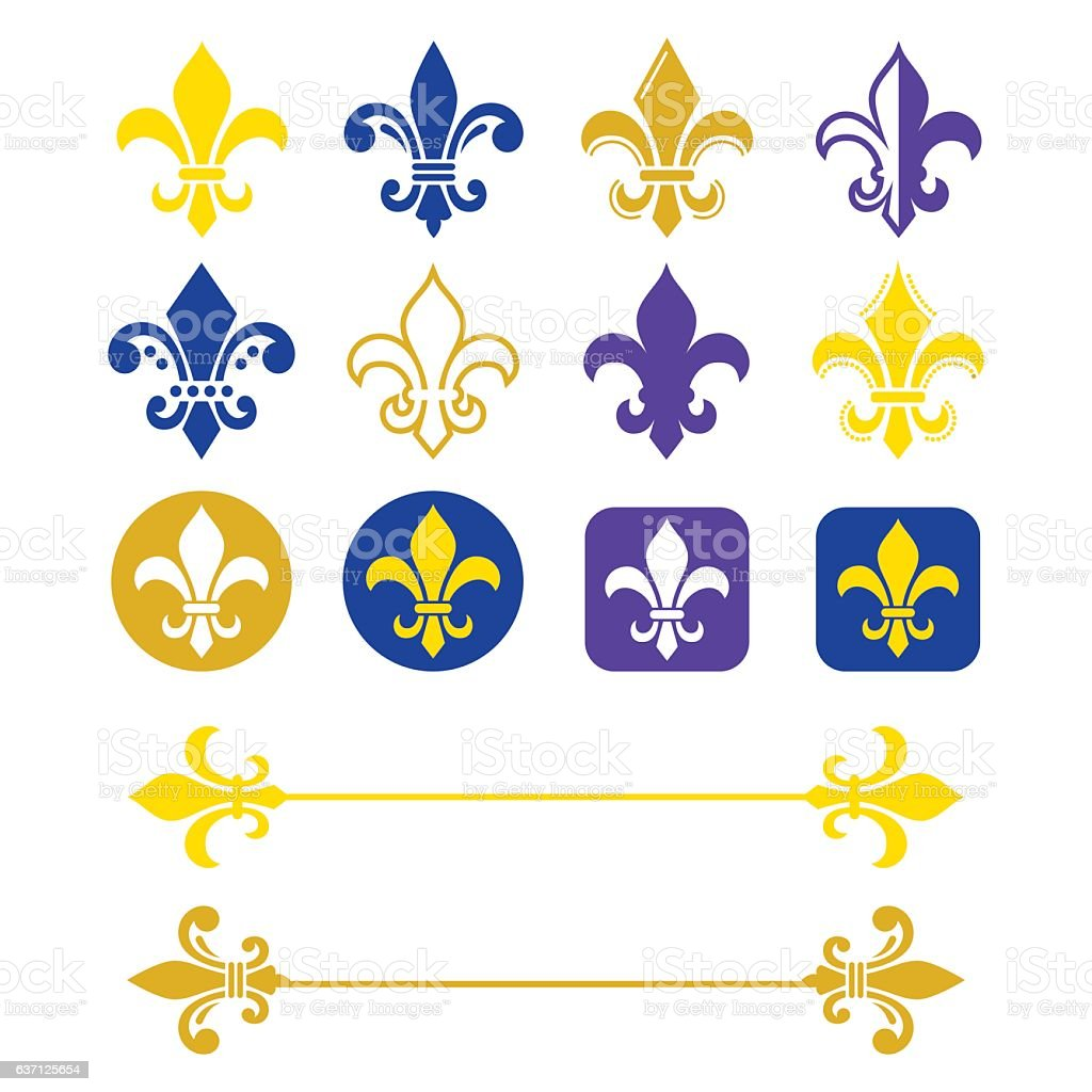Fleur de lis - French symbol, Scouting, heralry vector art illustration