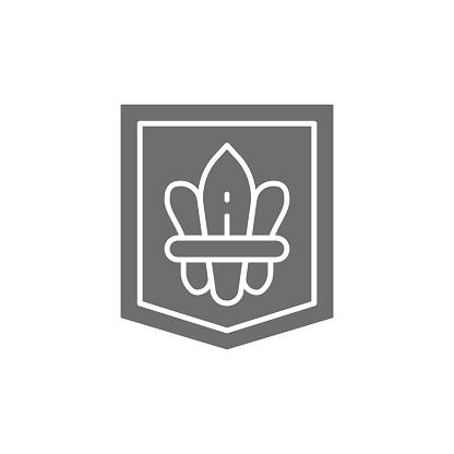 Fleur de lis, heraldic coat of arms, lily flowers grey icon.
