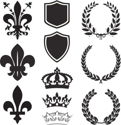 Fleur De Lis heraldry set in black&white.