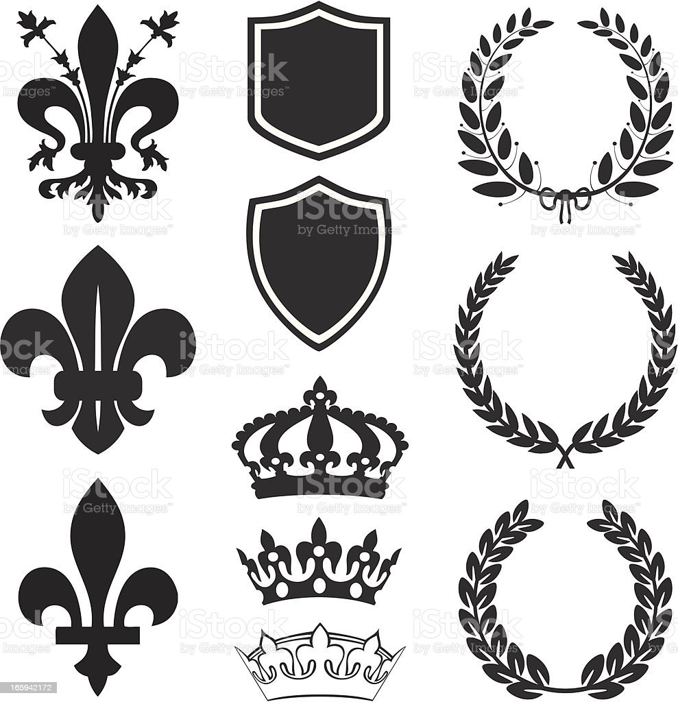Fleur De Lis Heraldry Set vector art illustration