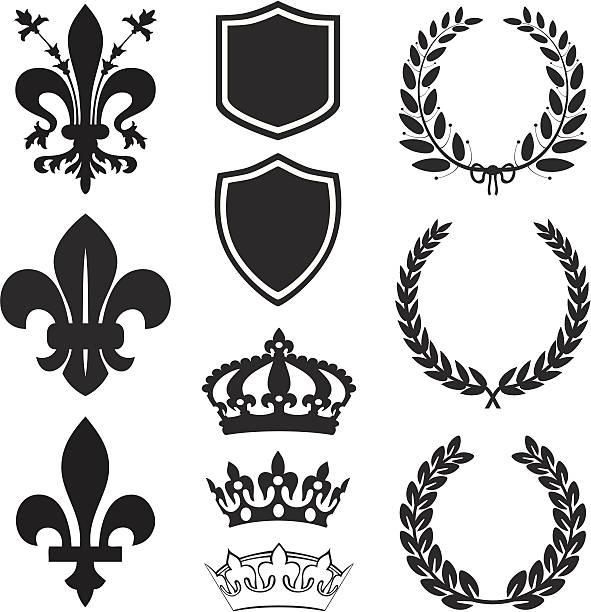 Fleur De Lis Heraldry Set Fleur De Lis heraldry set in black&white. diademe stock illustrations