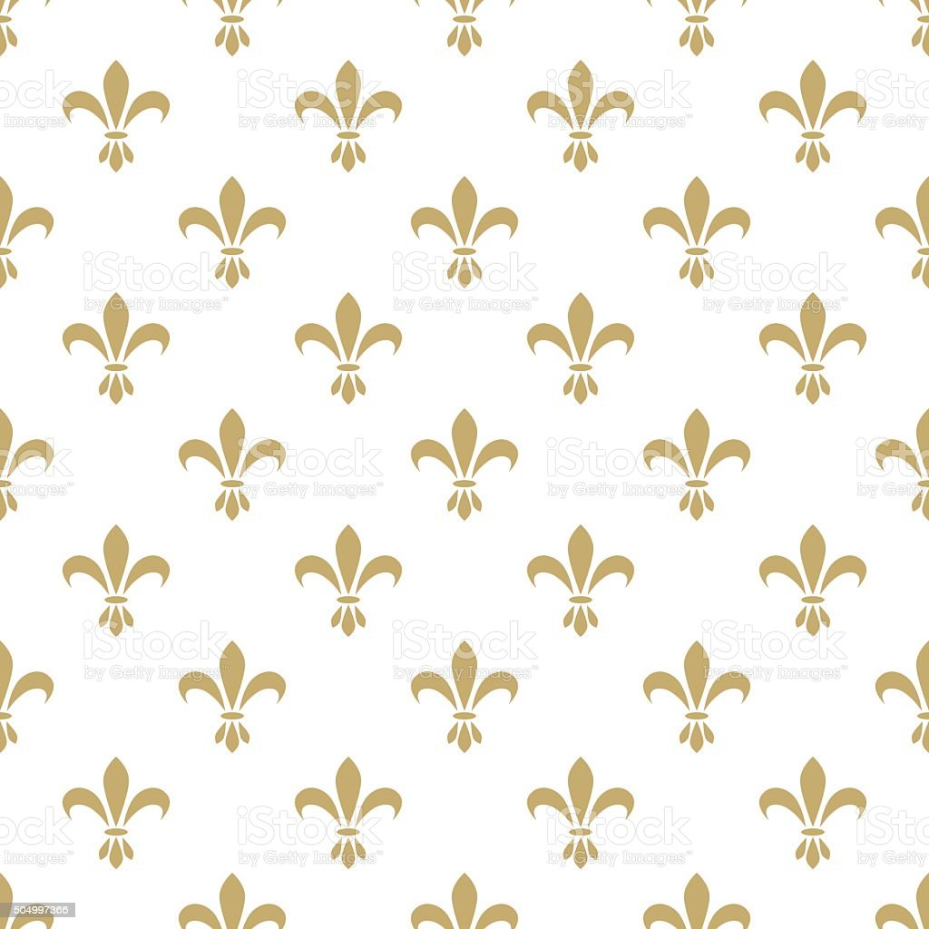 Fleur de lis seamless vector pattern. French vintage stylized lily vector art illustration