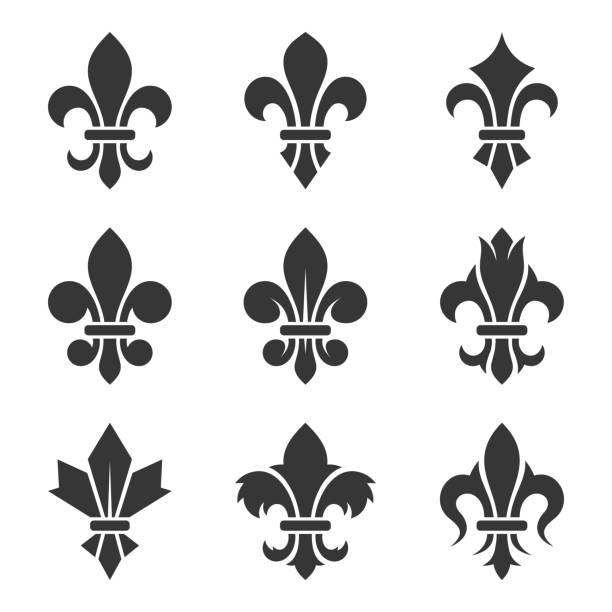 ilustraciones, imágenes clip art, dibujos animados e iconos de stock de flor de lis set - cultura francesa