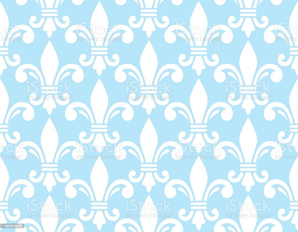 Fleur de lis white and blue pattern - French background vector art illustration