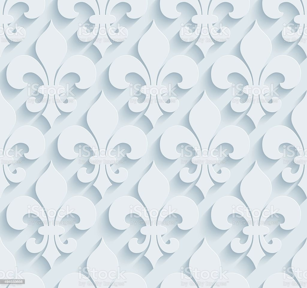Fleur De Lys 3D Seamless Wallpaper Pattern. vector art illustration