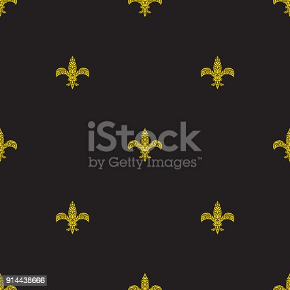 Fleur De Lys Black And Yellow Simple Seamless Pattern Stock Vector