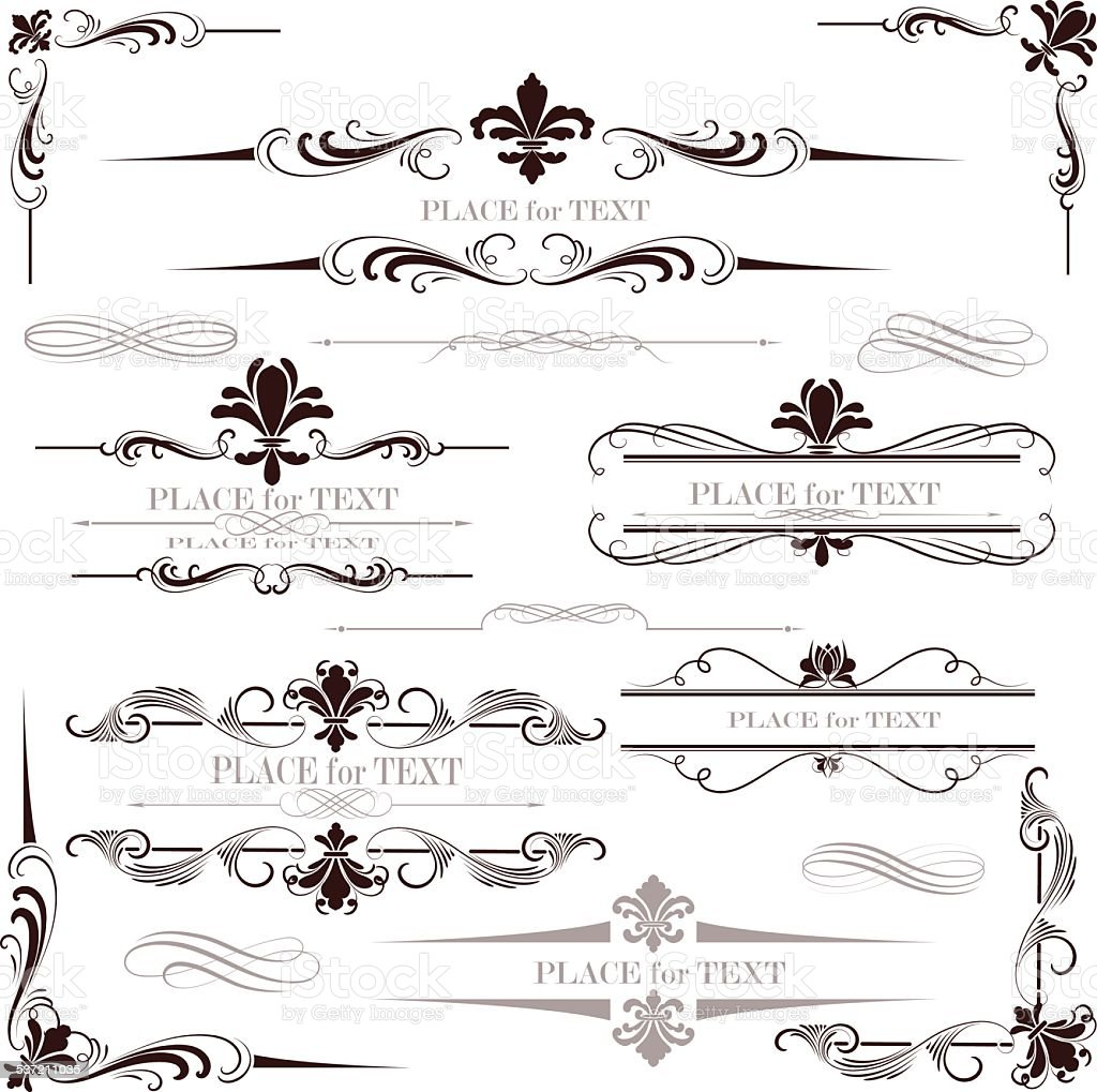fleur de lys calligraphy design vector art illustration