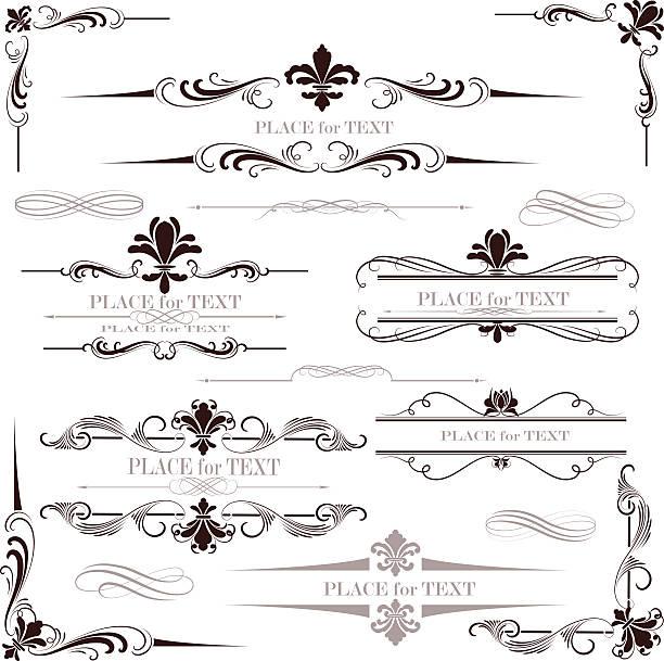 ilustraciones, imágenes clip art, dibujos animados e iconos de stock de salón fleur de lis calligraphy diseño - cultura francesa
