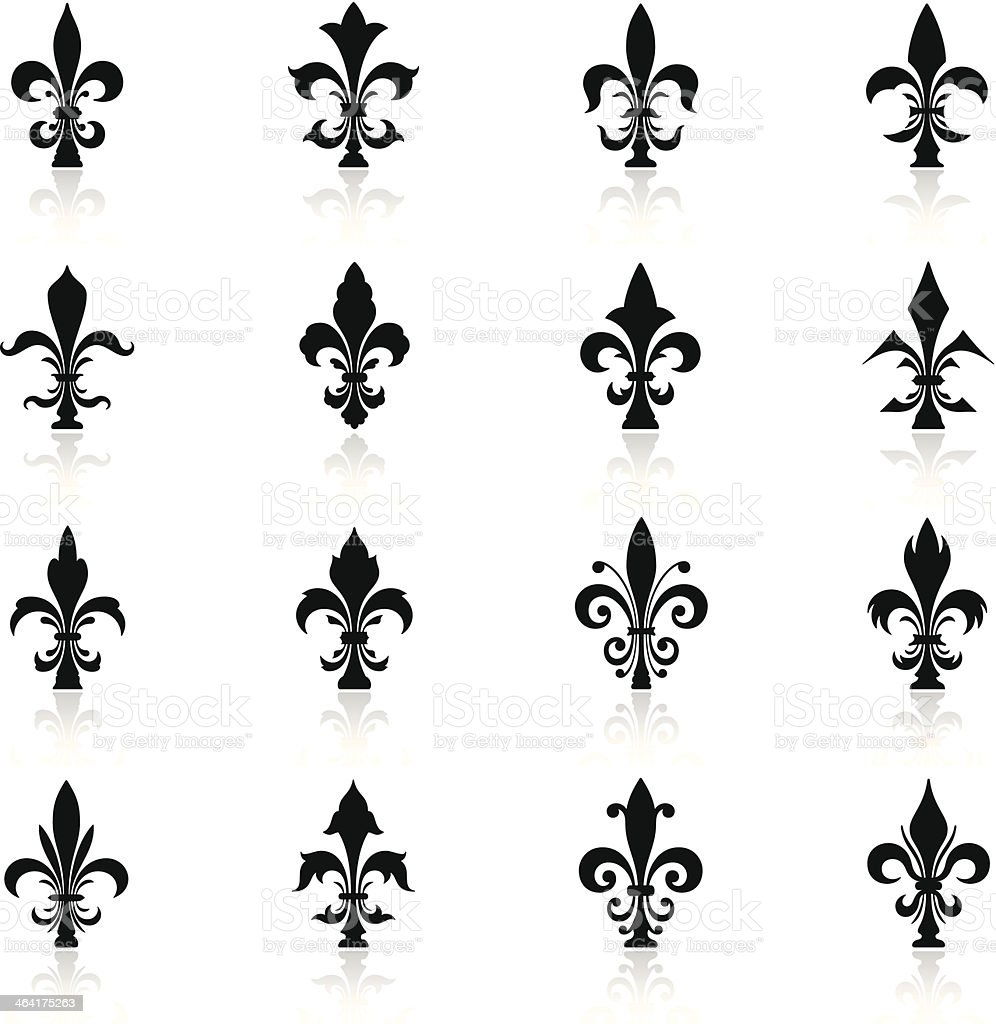 Fleur de Lys Icon Set vector art illustration
