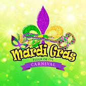 Mardi Gras carnival with fleur de lys symbol.