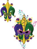 Old New Orleans Mardi Gras graphics with flour de lys, masks and feathers. Purple, green, and gold are the colors of Mardi Gras. Change color and scale easily with the enclosed EPS and AI files. Also includes hi-res JPG.