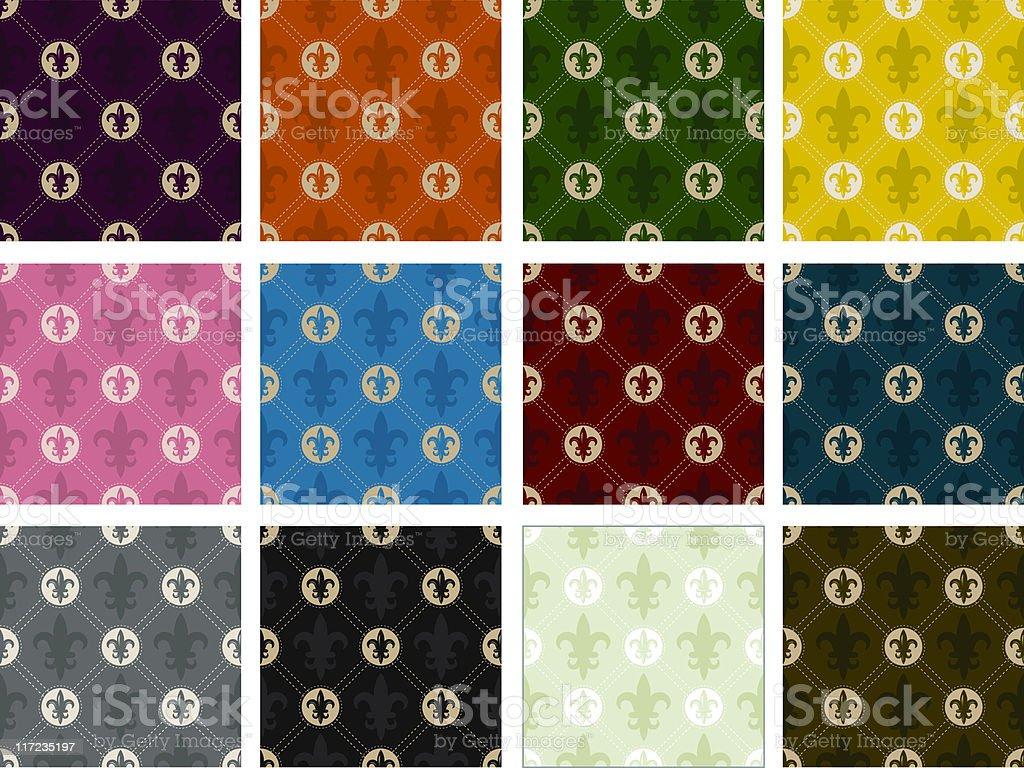 Fleur De Lys Pattern (Seamless) royalty-free fleur de lys pattern stock vector art & more images of backgrounds