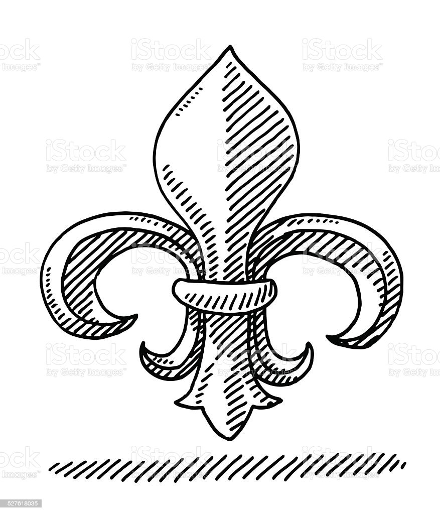 Fleur De Lys Symbol Drawing vector art illustration