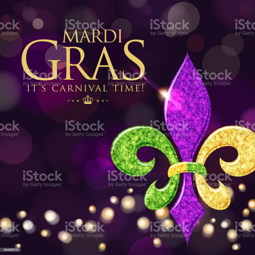 Fleur de lys symbol in purple background vector art illustration
