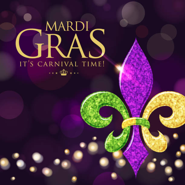 fleur de lys symbol in purple background - mardi gras stock illustrations, clip art, cartoons, & icons