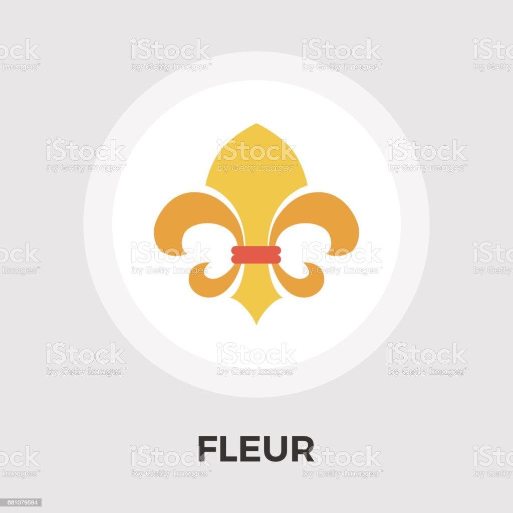 Fleur vector flat icon. Vintage Style. vector art illustration