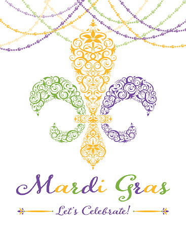 Fleur-de-lis Mardi Gras Party Invitation