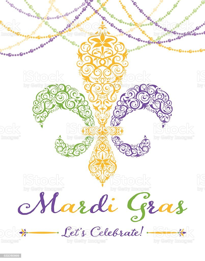 Fleur-de-lis Mardi Gras Party Invitation vector art illustration
