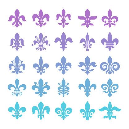 Fleur-de-lis symbols set