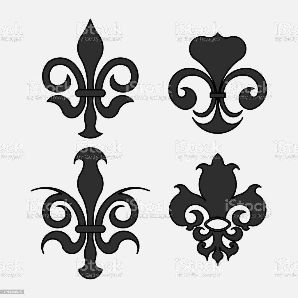 백합 문양 디자인을 위한 로얄 릴리 상징의 문장 학 상징 강아지-개에 대한 스톡 벡터 아트 및 기타 ...