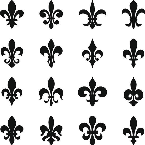 fleurs-de-lis (lily flowers) set of 16 icons lily stock illustrations