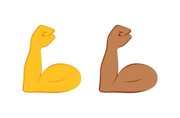 Geflexte Bizeps-Farbsymbol. Starke Emojis. Muskel. Bodybuilding, Training. Arm des Menschen, Unterarm. Isolierte Vektor-Illustration. – Vektorgrafik