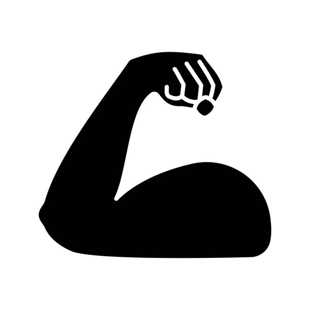 Flexed bicep glyph icon Flexed bicep glyph icon. Silhouette symbol. Strong emoji. Muscle. Bodybuilding, workout. Man's arm, forearm. Negative space. Vector isolated illustration active lifestyle stock illustrations
