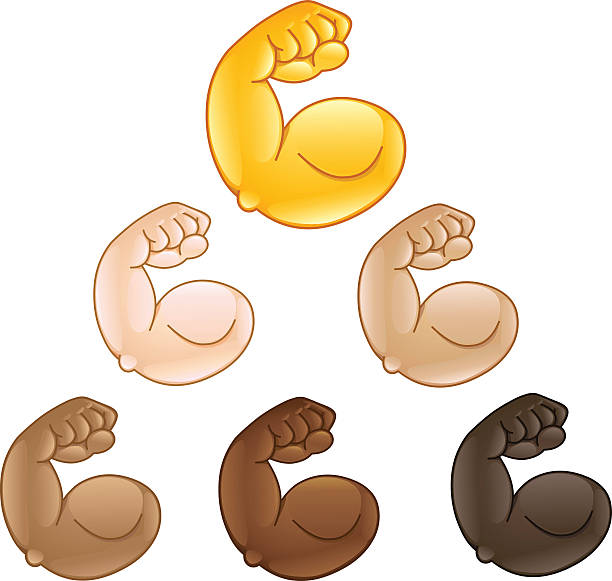 Flexed biceps hand emoji vector art illustration