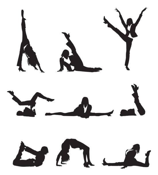 flexible geschäftsfrau mit langen beine dehnen - spagat stock-grafiken, -clipart, -cartoons und -symbole
